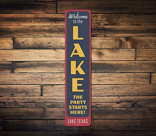 Anyuwerw The Party Starts Here Vertical Sign, Personalized Welcome Lake Location Name Gift, Metal Custom Cabin Decor - Quality Aluminum Lake Decors
