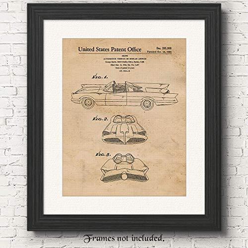 Original Batmobile Patent Art Poster Print- Set of 1 (One 11x14) Unframed Picture- Great Wall Decor Gifts Under $15 for Men, Home, Office, Garage, Man Cave, Teacher, Batman-ComicCon-Movies Fan ()