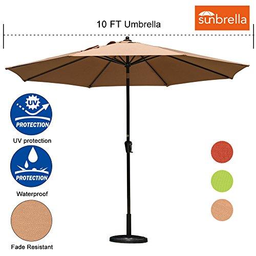 Sundale Outdoor 10 Ft Sunbrella Canopy Patio Market Umbrella Garden Aluminum Umbrella with Crank and Auto Tilt, Camel (Patio Sunbrella Umbrellas Fabric)