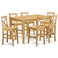 East West Furniture CAPB7H-OAK-W 7 Piece High Top Table and 6 Dinette Chairs Set