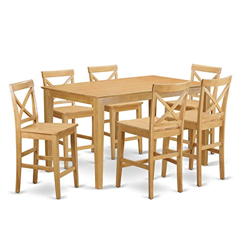 East west furniture capb7h oak w 7 piece high top table for High top kitchen table set