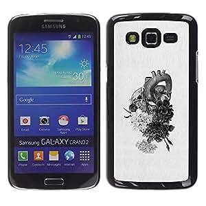 For Samsung Galaxy Grand 2 II / SM-G7102 / SM-G7105 Case , Heart Drawing Pencil Flowers - Diseño Patrón Teléfono Caso Cubierta Case Bumper Duro Protección Case Cover Funda