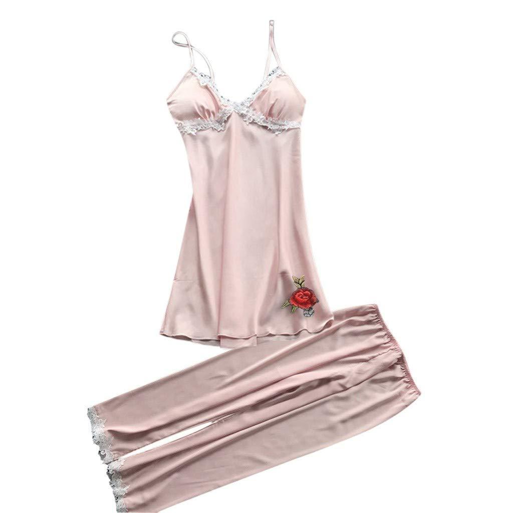 Women 2PC Sexy Lace Lingerie Nightwear Underwear Babydoll Sleepwear Dress Pajama Pants Set (K, L)