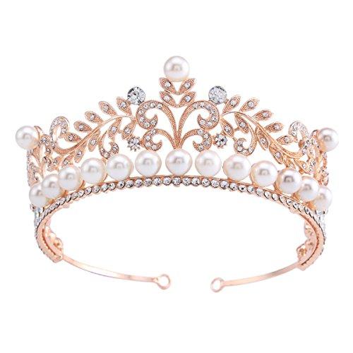 (Stuffwholesale Rose Gold Headband Tiara Pearl Bead Wedding Prom Crown (#4))