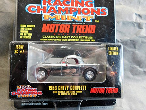 1953 Chevy Corvette (Chrome with red interior) Motor Trend Magazine Chrome Finish Limited Edition 1:64 scale die-cast by Racing Champions with openable hood and rubber tires