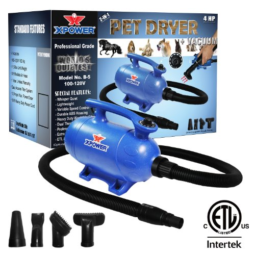 Xpower B-5 4 HP Variable Speed 2-in-1 Pet Dryer and Vacuum
