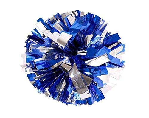 BCLAND Pack of 2 Cheerleading Metallic Foil & Plastic Ring Pom Poms Cheerleading Poms (blue and silver)