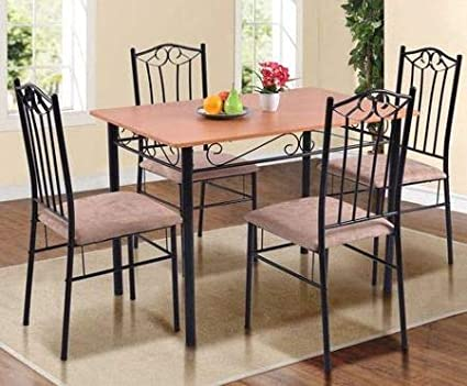 Dinette Sets For Small Spaces Dinning Room Table Set Five Piece Black Natural Wood
