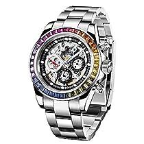 BERSIGAR Reloj multifunción para Hombre Relojes a Prueba de Agua Reloj de Pulsera con Correa de Acero Inoxidable Informal