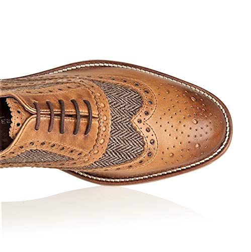 Tan Scarpe tweed Tan Beige Uomo Stringate Brogues Tweed London Zw0gqx4g