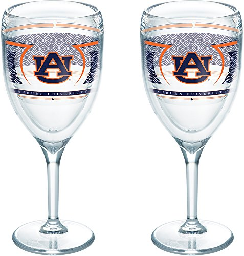 Tervis 1230226 Auburn Tigers Reserve Insulated Tumbler with Wrap 2 Pack - Boxed 9oz Wine Glass - Tigers Auburn Glass