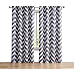 "HLC.ME Chevron Print Thermal Insulated Energy Efficient Room Darkening Blackout Window Curtain Grommet Top Panels for Bedroom & Nursery - Set of 2-52"" W x 84"" L - Grey"