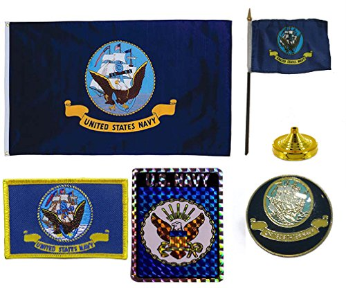 Combo USN Navy Military Flag Set 3x5 Flag, Decal, Lapel Pin,
