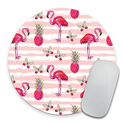 Summer Jungle Pattern with Tropical Butterflies Mousepad, Flamingo and Pineapple Round Mouse Pad ()