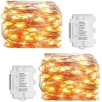 Fairy Lights Outdoor String Lights Battery Operated Waterproof 60 LED 10ft String Lights Silver Wire Firefly Lights Christmas Decor Lights Blue Toplife LED String Light