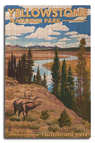 Lantern Press Yellowstone National Park, Wyoming - Yellowstone River and Elk (10x15 Wood Wall Sign, Wall Decor Ready to Hang)