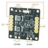 Foxeer CC3D Flight Controller Mini Power Distribution Board PDB w/LED (Comes with BEC 5V 12V,LED Controller,Tracker,Low Voltage Alarm) for Racing Drone Quadcopter Multicopter like QAV250