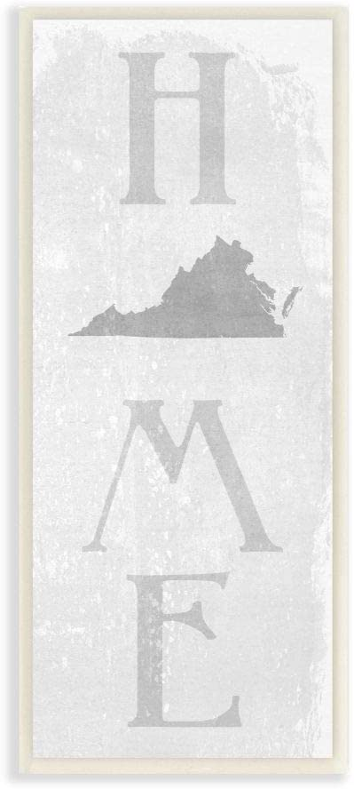 Stupell Industries Virginia Home State Map Grey Textured Word Design Wall Plaque, 7 x 17, Multi-Color