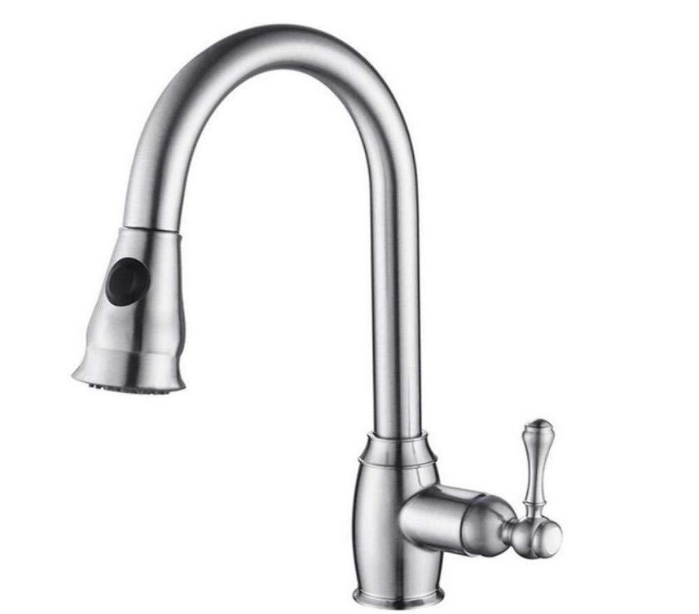 Taps Kitchen Sinkkitchen Faucet 1 Set Flexible Mixer Polished Chrome Single Handle Pull Down Spout