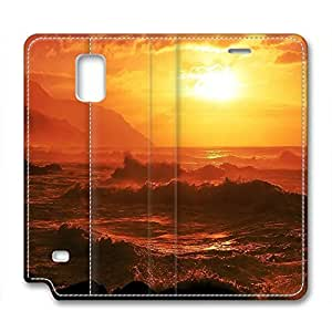 Sunset Personalized Design Leather Case for Samsung Note 4 Sea Wave