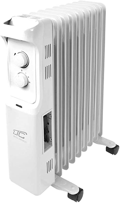 LTC Elektrischer /Ölgef/üllter Heizk/örper 3 Heizstufen Elektromechanischer Thermostat 2500W 11 Rippen