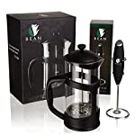 Bean Envy 34 oz French Press Coffee, Espresso and Tea Maker - Premium Bundle Includes Electric Milk Frother - Best Press For 1, 3, 4 or 8 Cups by Bean Envy