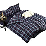 LifeTB Kids 3 Pieces Cotton Bedding Duvet Cover Set Twin Size Modern Blue Plaid Print Duvet Comforter Cover Sets Reversible Printed Soft and Breathable Bedding Collection
