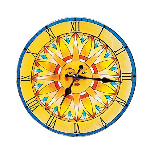 (Collections Etc Bright Glass Suncatcher Hanging Wall Clock with Shades of Yellow, Blue and Orange, Beautiful Seasonal Accent)
