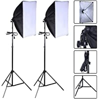 Safstar Photography Softbox 24x16 Socket Light Lighting Kit Photo Equipment Softbox with Stand (With Bulbs)