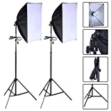 Safstar Photography Softbox 24''x16'' Socket Light Lighting Kit Photo Equipment Softbox with Stand (With Bulbs)
