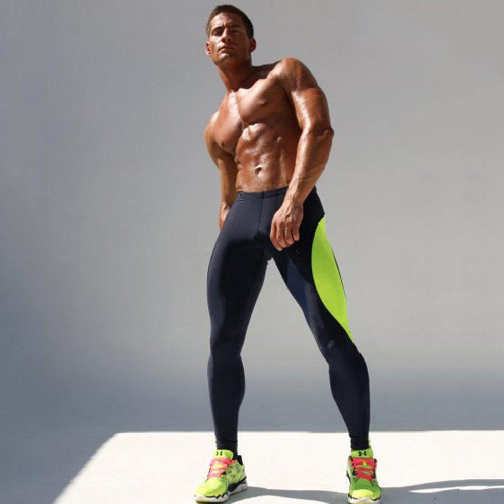 26798bdbf24aaa iiSport- Pantaloni Aderenti Uomo Corsa Autunno - Inverno Pantaloni da  Jogging Tuta da Palestra Pantaloni Interi da Sport Panatloni Sportivi  (Verdi) (Taglia: ...
