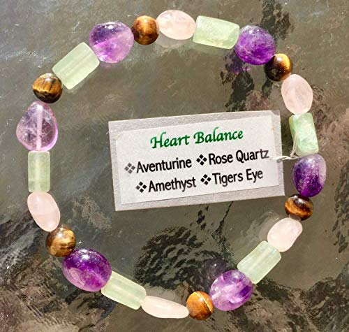 Artist Gems Love Rose Quartz and Heart Chakra Gem Aventurine Bracelet Made in USA Size Choices from Extra Large 8.25 inches through Extra Small with Amethyst Tigers Eye Fancy Gift ()