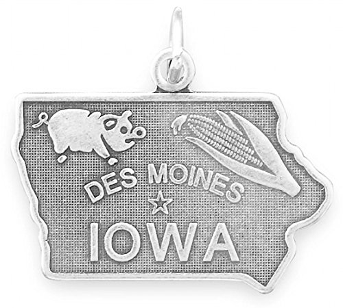 (Oxidized Sterling Silver Charm, State of Iowa, 7/8 inch )