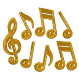 Beistle 54880 Gold 84-Pack Plastic Musical Notes, 13-Inch