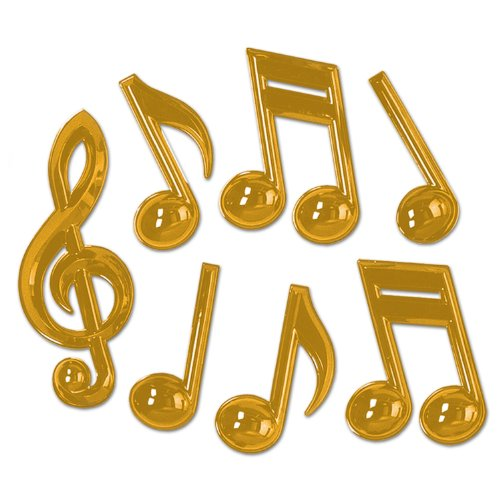 Beistle 54880 Gold 84-Pack Plastic Musical Notes, 13-Inch by Beistle