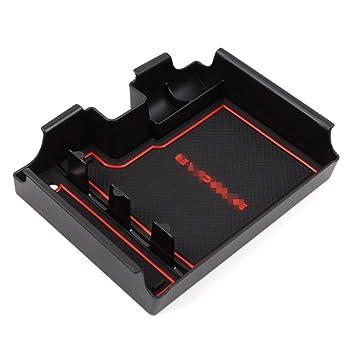 Customized For Evoque 2014-2018 Interior Armrest Storage Box Holder,Armrest Organizer Tray With Anti-Slip Mat