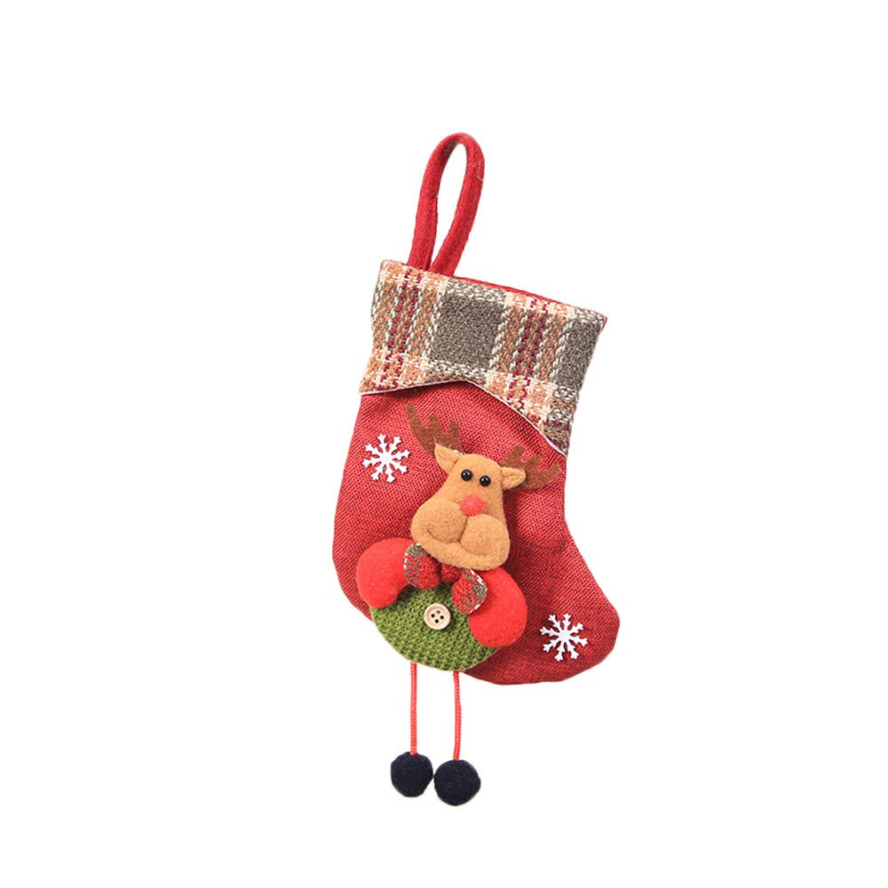 Willsa Cute Exquisite Christmas Stocking Mini Sock Santa Claus Candy Gift Bag Xmas Tree Hanging Decor