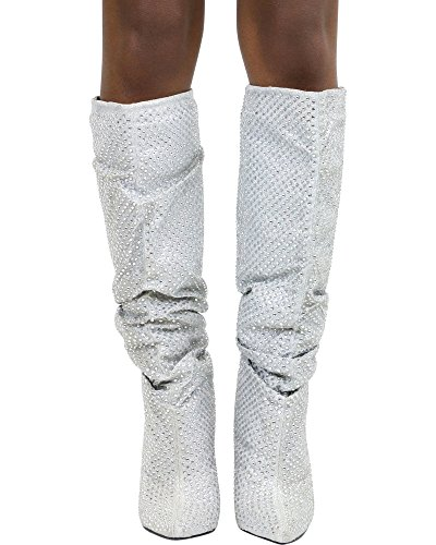Chunky Immerse Bamboo 02s Womens Slouch Pointed Boots Silver Toe Heel 76Xxxw