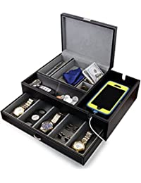 Admiral Dresser Valet Box & Mens Jewelry Box Organizer with Large Smartphone Charging Station (Grey)