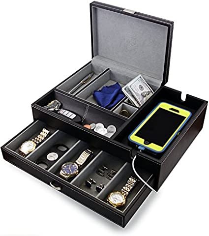 HoundsBay Big Dresser Valet Box & Mens Jewelry Box Organizer with Large Smartphone Charging Station (Grey)
