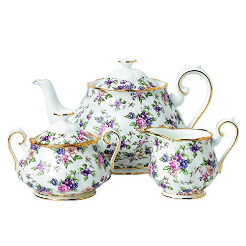 100 YEARS 1940 3-PIECE SET (TEAPOT, SUGAR & CREAMER) ENGLISH (Chintz Antique)
