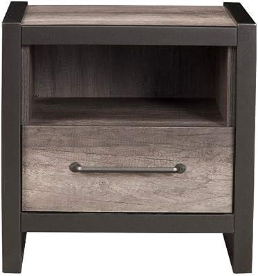 Benzara Gray BM171867 RubberWood Contemporary Nightstand,Black and Grey