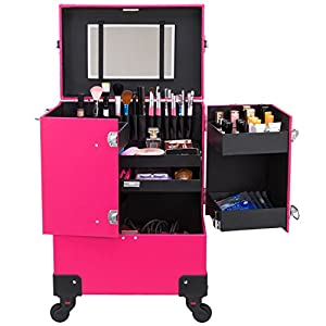 Ollieroo Makeup Train Case Rose-Pink Lockable PU Artist Makeup Cosmetic Train Case with 4 Removable Rolling Wheels and 4 Keys