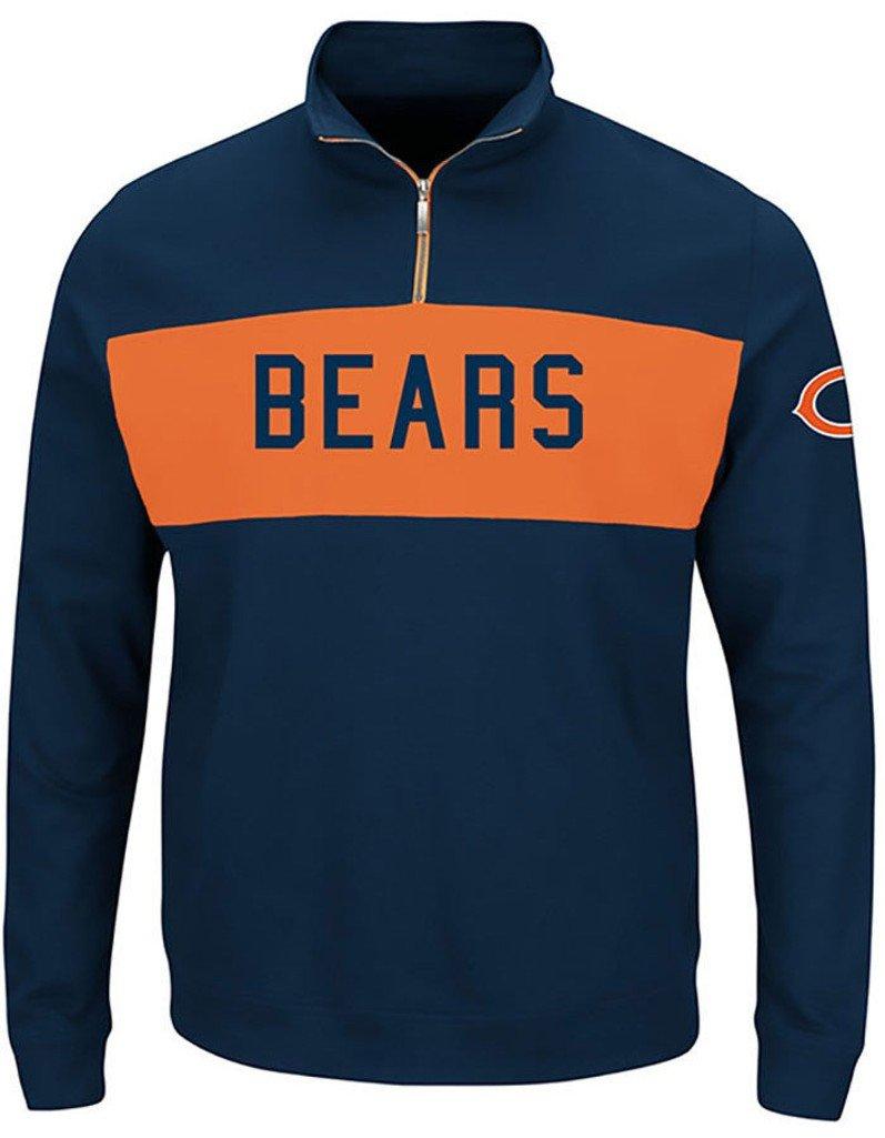 Chicago Bears NFL Mens Majestic目標線1 / 4 Zip長袖スウェットシャツNavyブルービッグサイズ 5XL  B077VZHYWW
