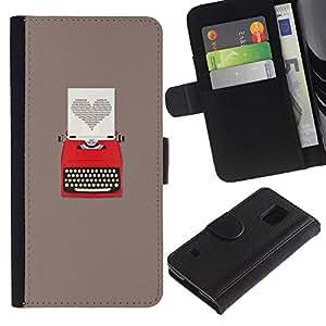 For Samsung Galaxy S5 V SM-G900,S-type® Heart Writing Love Writer Grey - Dibujo PU billetera de cuero Funda Case Caso de la piel de la bolsa protectora