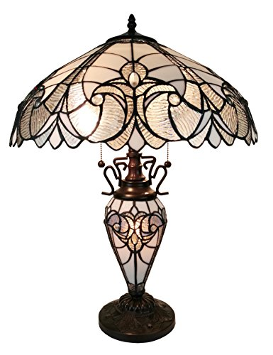 Tiffany Style Table Lamp Banker Glass Base 23