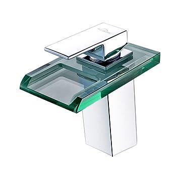 Auralum® Glas Chrom LED Wasserhahn Einhandmischer Waschtisch ...