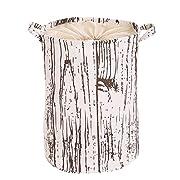 PUTING Space Saver Folding Laundry Hamper Waterproof Convergent Canvas Fabric Storage Bin Storage Basket Organizer for Bathroom Storage & Closet Home Organization, Wood Grain