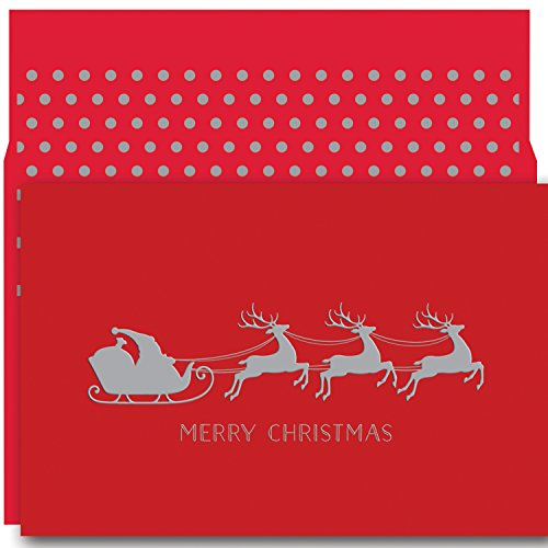 Masterpiece Studios Holiday Collection Petites Boxed Cards, Christmas Sleigh, 18 Cards/18 Foil-Lined Envelopes ()