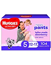Huggies Ultra Dry Nappy Pants, Girl, Size 5 (12-17kg), 104 Count, Packaging May Vary, Pack of 2